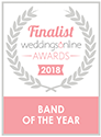 A finalist badge for the best wedding band of the year award.